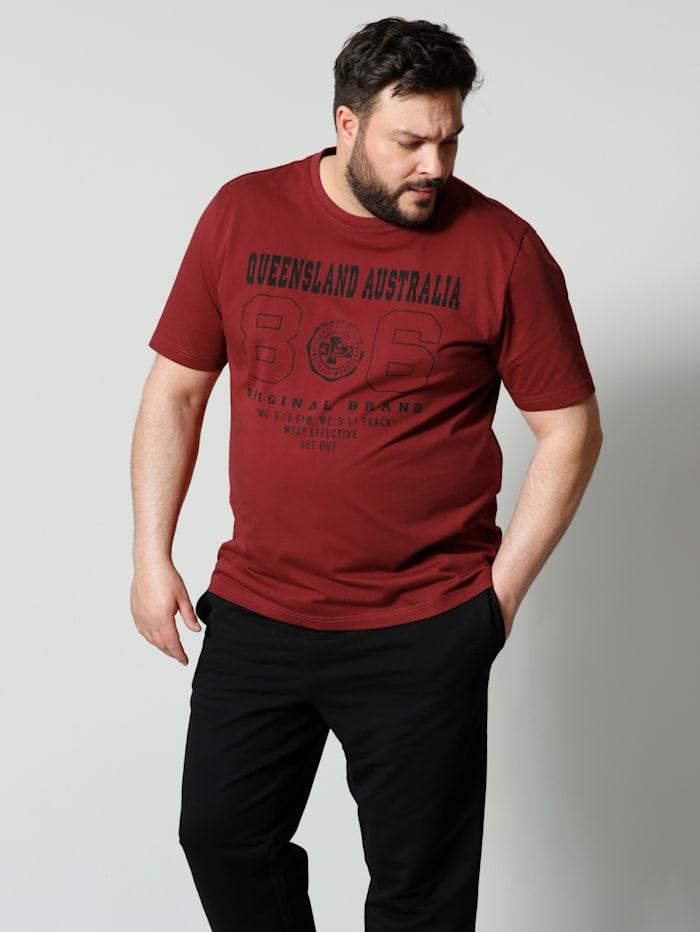 Men Plus T-Shirt aus reiner Baumwolle, Bordeaux