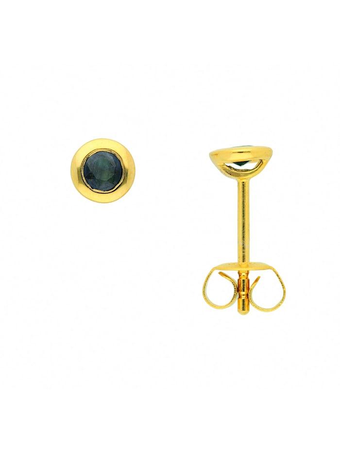 1001 Diamonds Damen Goldschmuck 585 Gold Ohrringe / Ohrstecker mit Safir, blau
