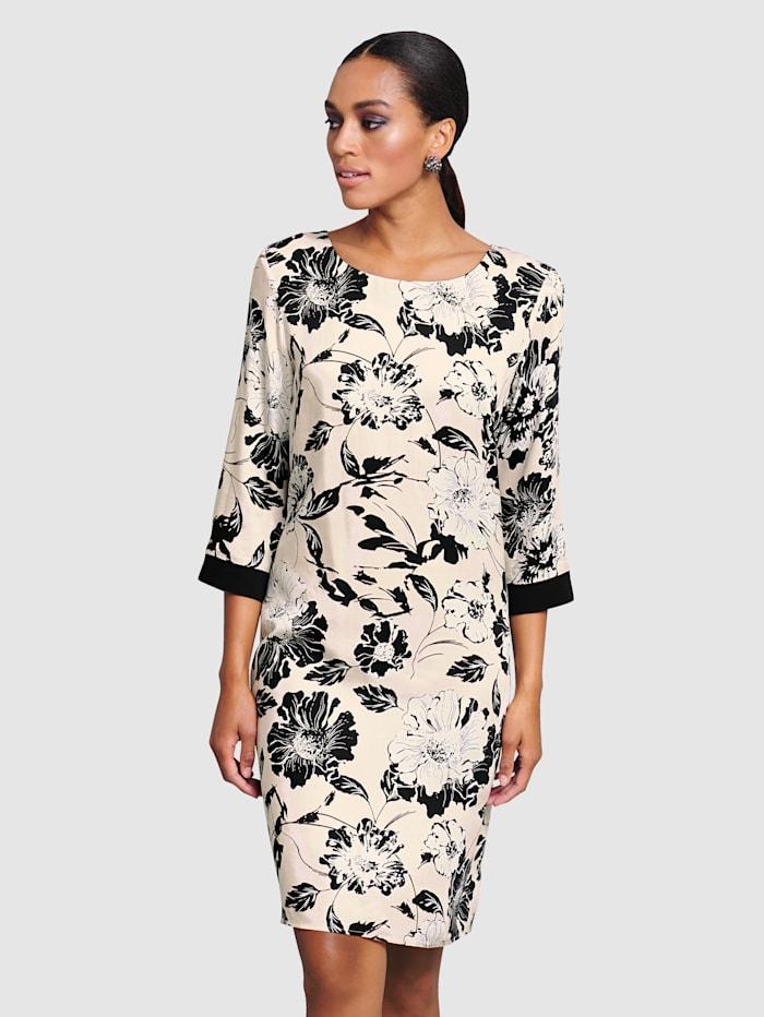 Alba Moda Kjole med vakkert blomstertrykk, Muldvarp/Svart