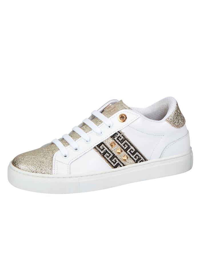 Studio W Sneaker met klinknageltjes en strassteentjes, Wit/Goudkleur