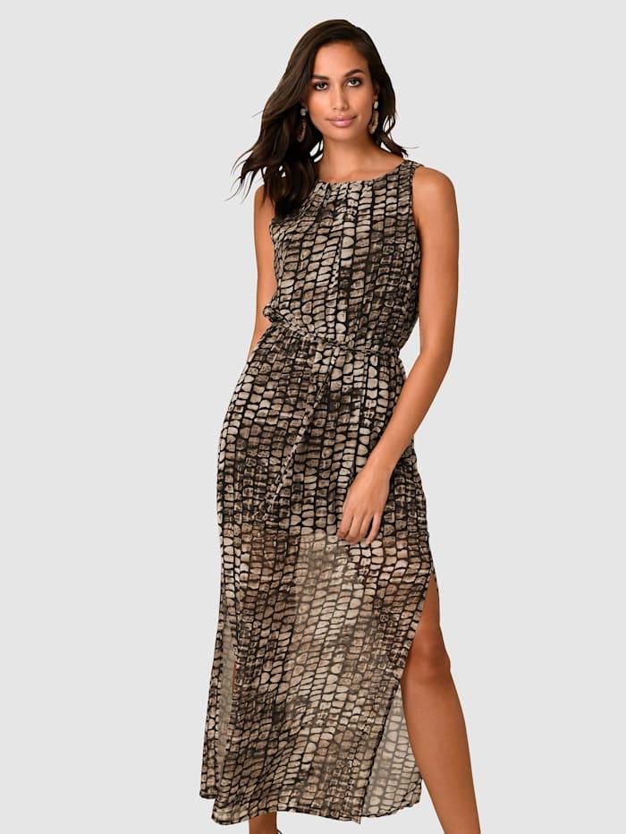 Alba Moda Kleid mit langen Seitenschlitzen, Braun/Schwarz