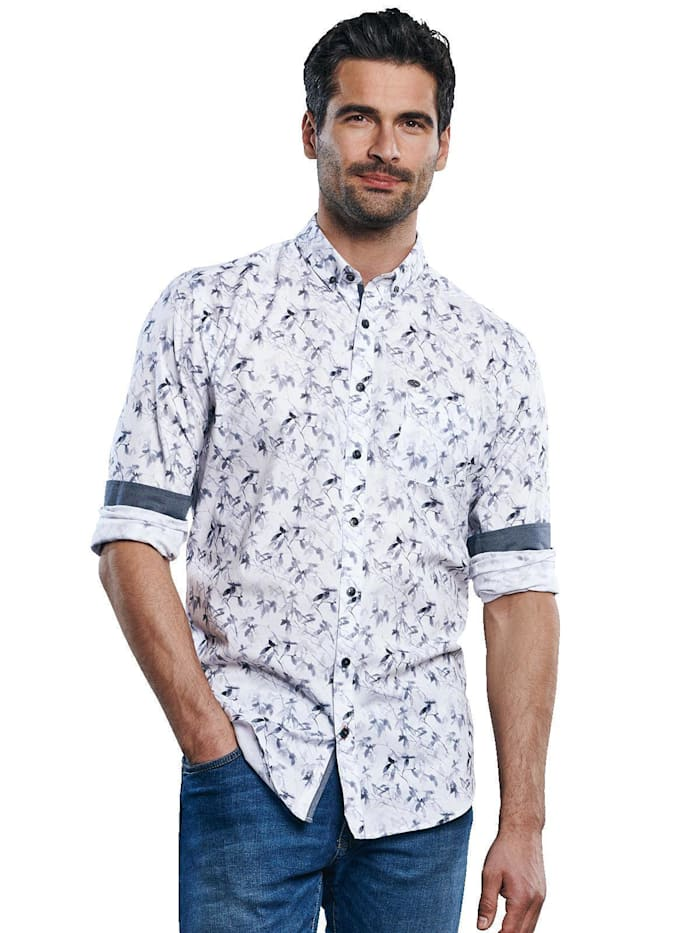 Engbers Langarm-Hemd mit floralem All-Over-Print, Anthrazit