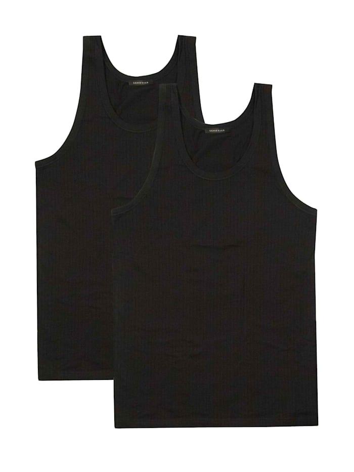 Schiesser Achselshirt im Doppelpack, schwarz