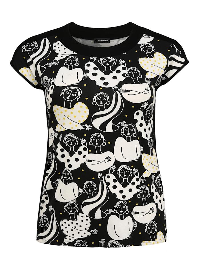 Doris Streich Shirt mit Allover-Muster Ton-in-Ton-Nähte, schwarz/weiß