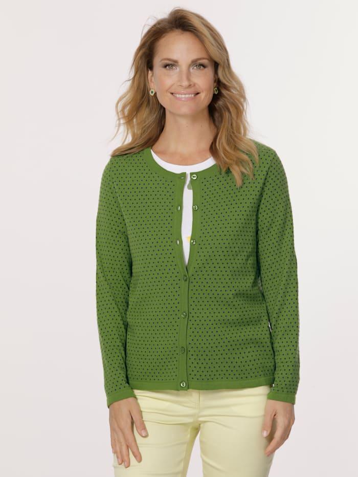 MONA Cardigan aus Jacquard-Strick, Grün/Blau