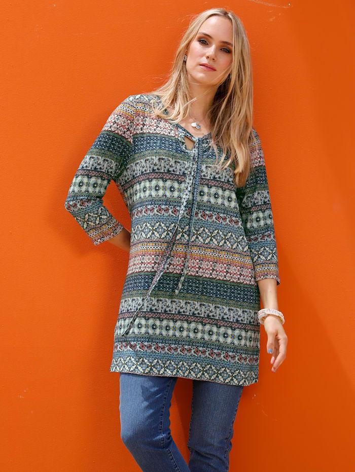 MIAMODA Longshirt zum Binden am Ausschnitt, Multicolor
