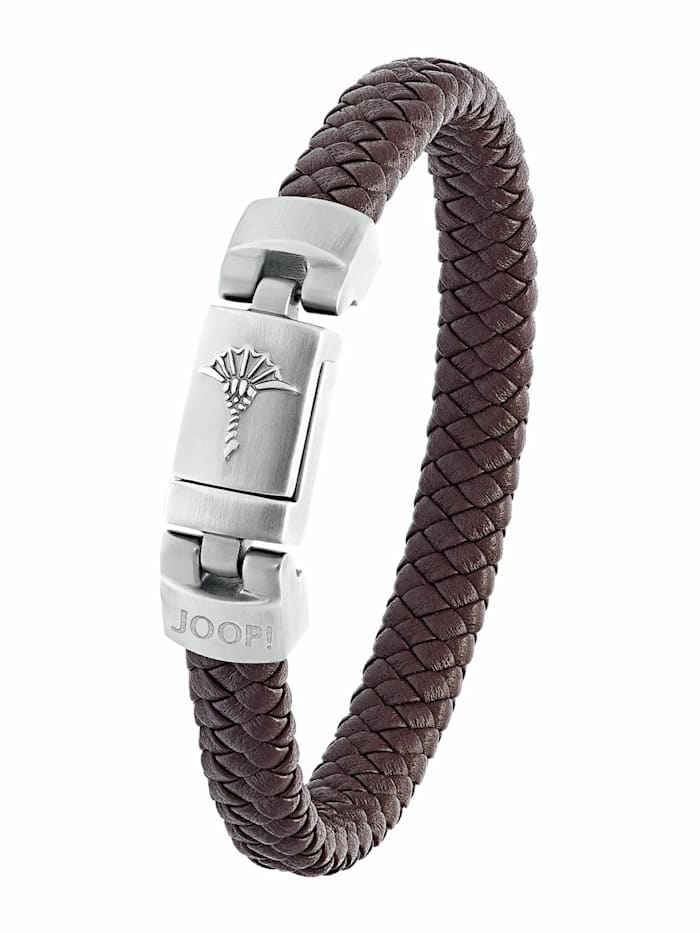 JOOP! Armband für Herren, Edelstahl und Leder, Braun