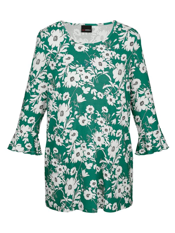 MIAMODA Shirt aus weich fließendem Viskosematerial, Grün/Weiß