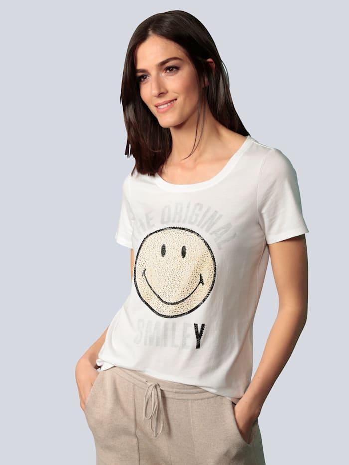 OUI T-Shirt mit glitzernden Steinen, Weiß