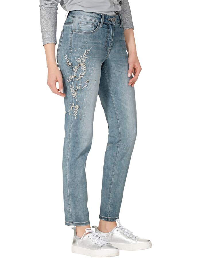 Jeans mit Perlen- und Strasssteindekoration