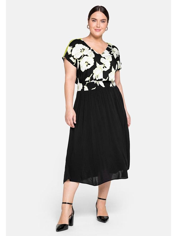 Sheego Kleid mit floralem Druck und tiefem V-Ausschnitt, schwarz bedruckt