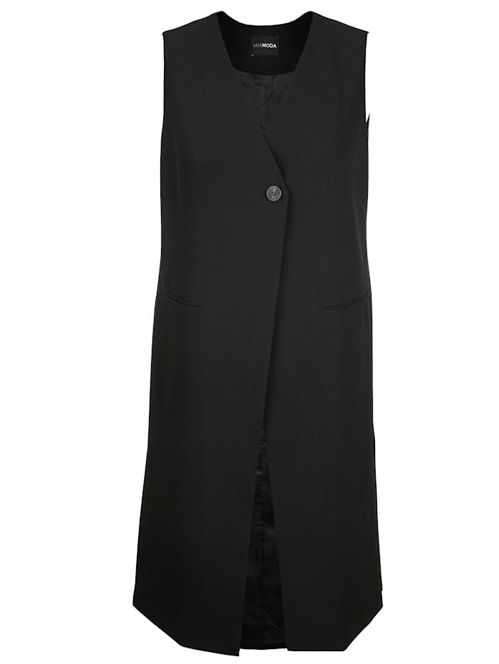 MIAMODA Pitkä liivi – sivuhalkiot, Musta