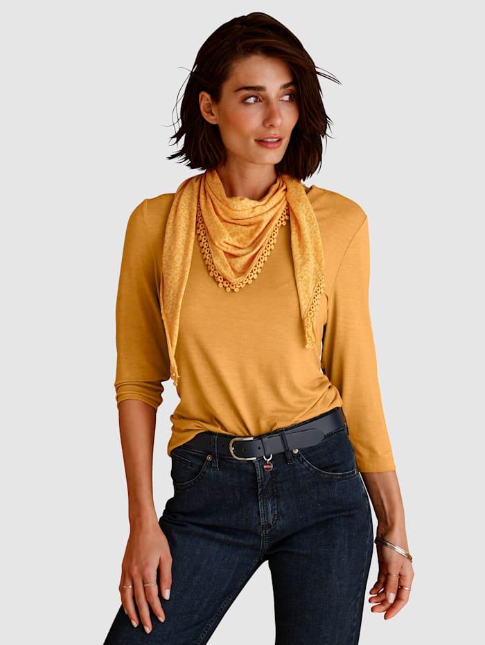 MONA Shirt mit Schal, Ockergelb