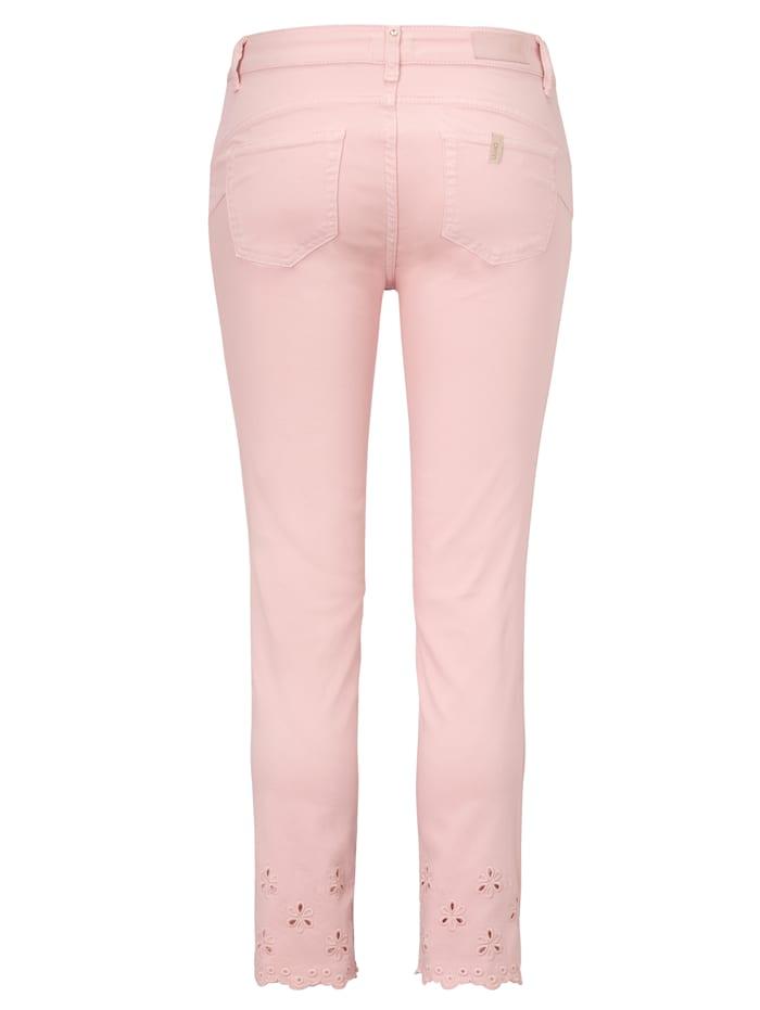Jeans mit Spitze am Saum