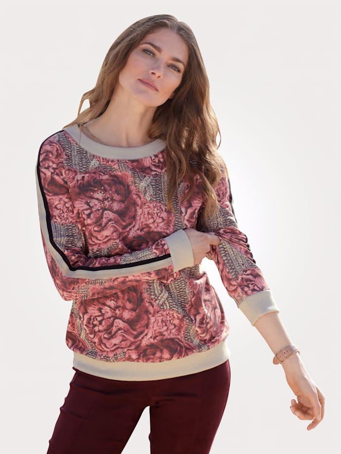 MONA Sweatshirt mit imposantem Blüten-Druck, Sand/Bordeaux