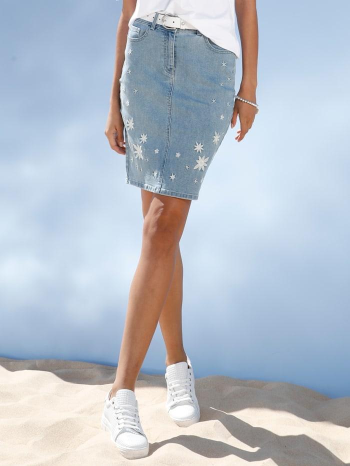 AMY VERMONT Spijkerrok met borduursel, Light blue/Wit