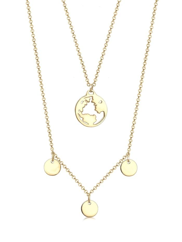Elli Halskette Geo Weltkugel Wanderlust Layer 925 Sterling Silber, Gold