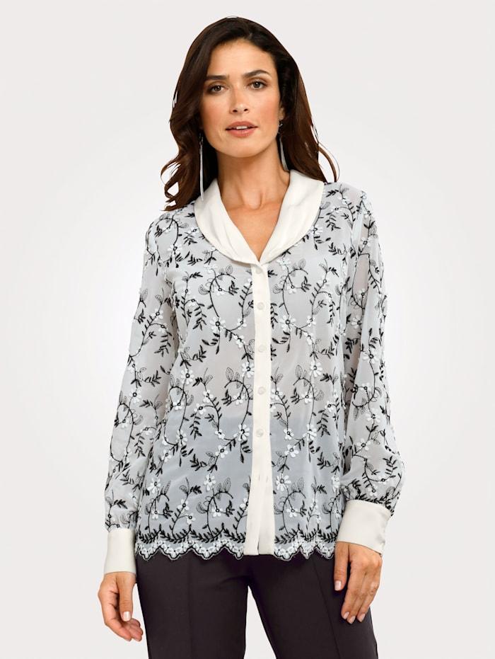 MONA Bluse mit applizierten Blütenblättern, Ecru/Schwarz