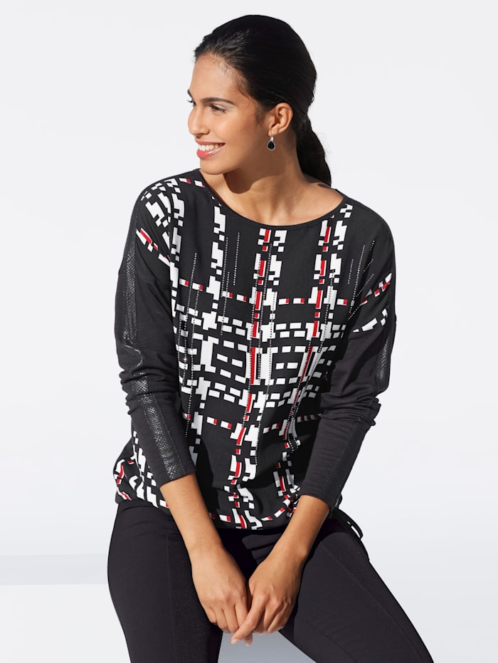 Shirt mit grafischem Print und Strasssteinen im Vorderteil