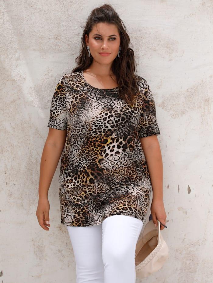 MIAMODA Shirt in een mooie kleurencombinatie, Beige/Zwart