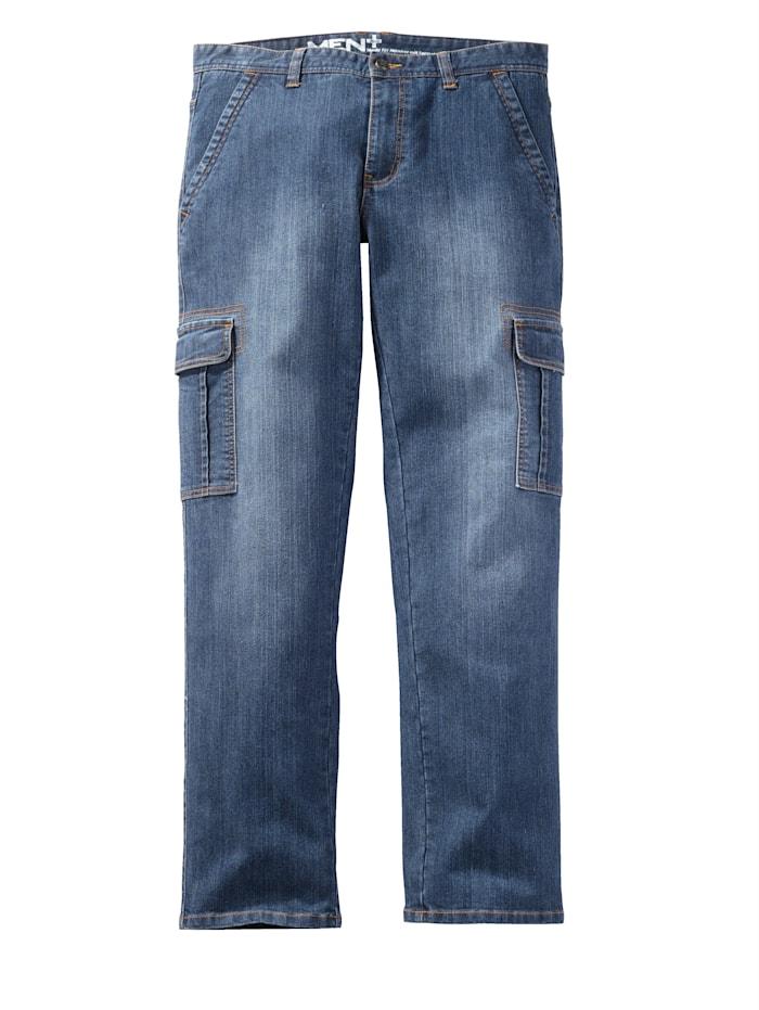 Men Plus Jeans med cargofickor, Blue stone