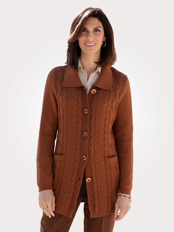 MONA Cardigan with cable knit detail, Brown