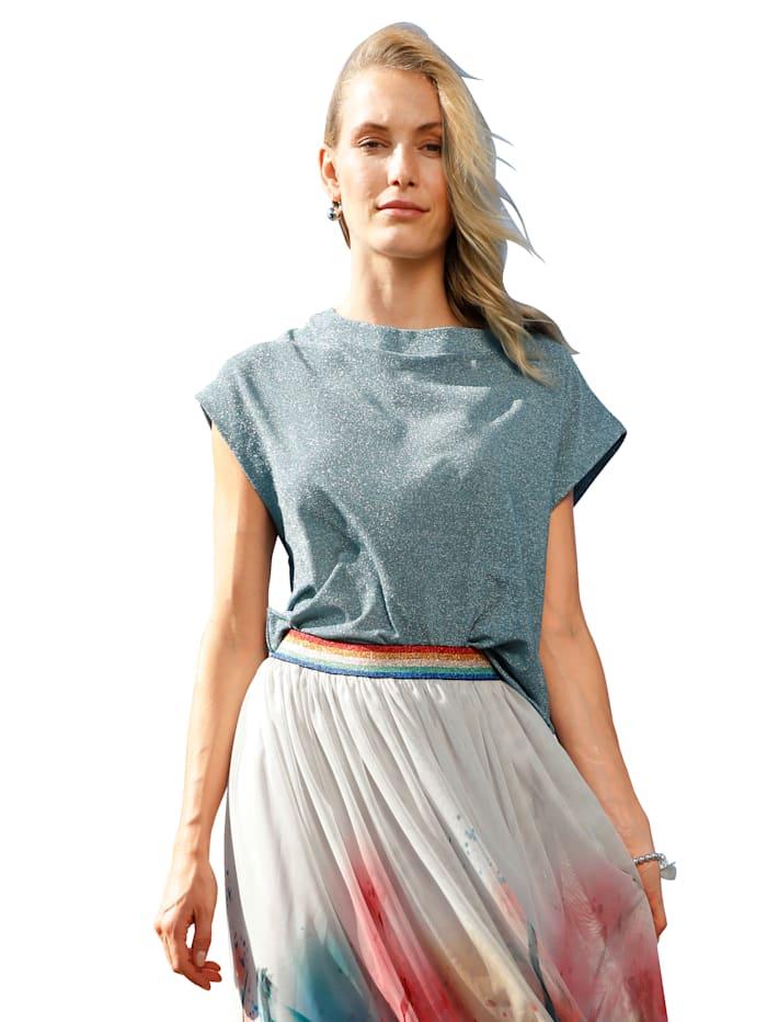 AMY VERMONT Shirt mit Glanz-Effekt, Hellblau