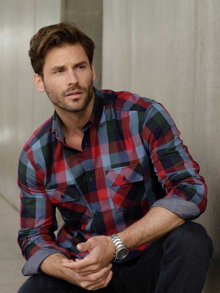 BABISTA Overhemd met 2 klepzakken, Blauw/Rood