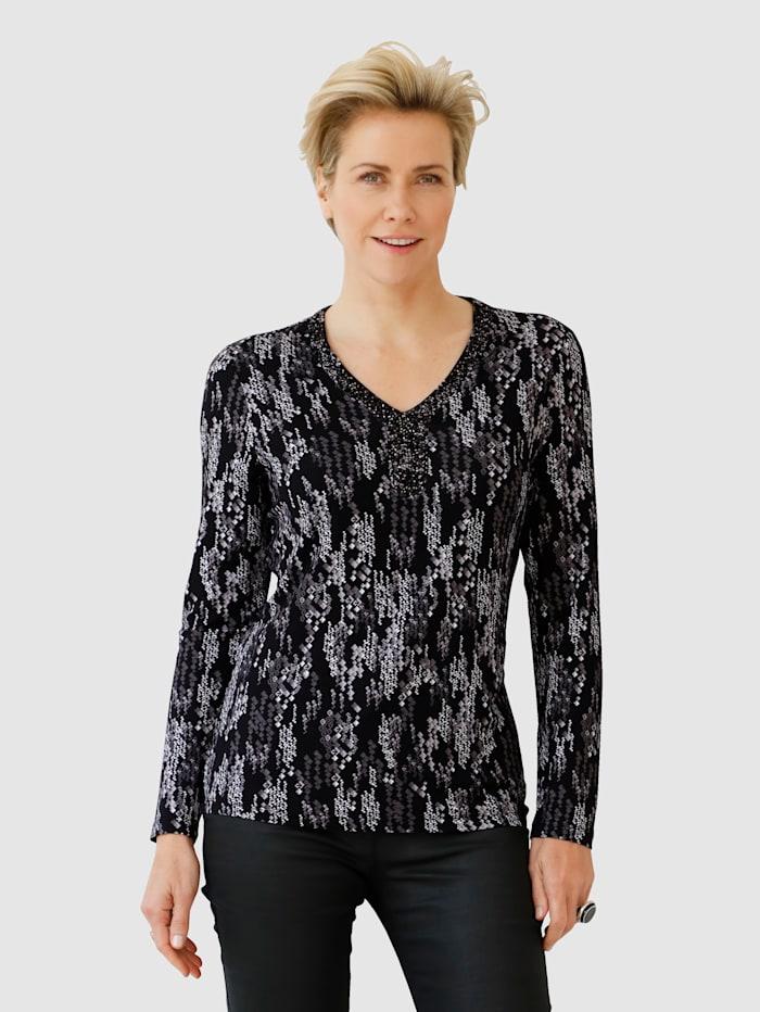 MONA Shirt mit Strassplättchen und Perlen, Schwarz/Weiß
