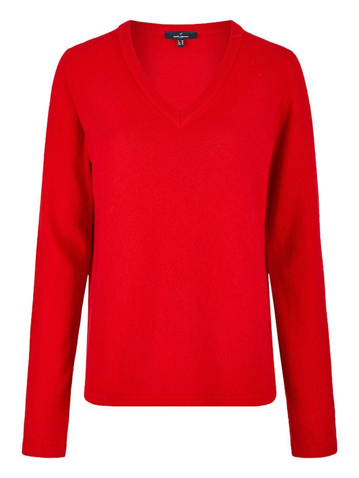 Daniel Hechter Klassischer Pullover mit V-Ausschnitt, red