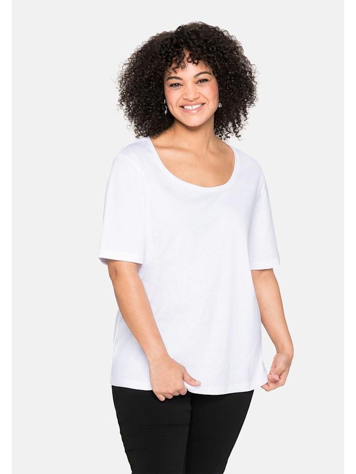 Sheego Sheego T-Shirt aus reiner Baumwolle, weiß
