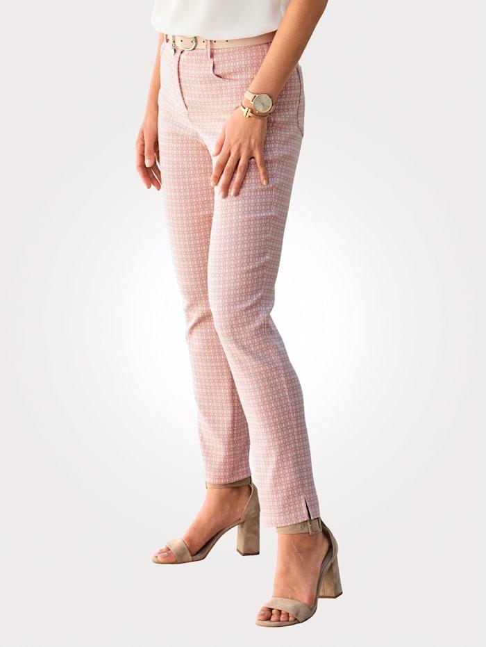 MONA Hose mit Minimalmuster, Rosé/Creme-Weiß
