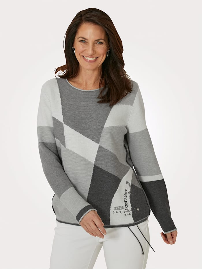 Rabe Pull-over en maille intarsia, Gris/Écru