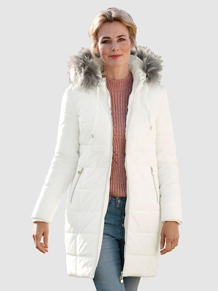 Dress In Longjacke mit abnehmbaren Webpelz, Wollweiß
