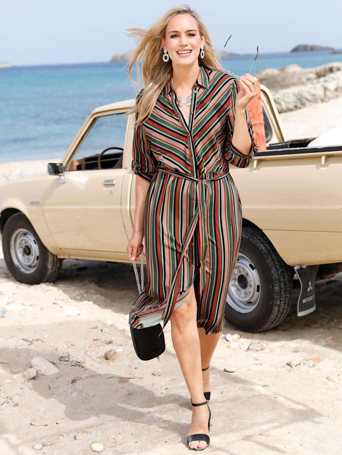 MIAMODA Robe à patte boutonnée, Multicolore