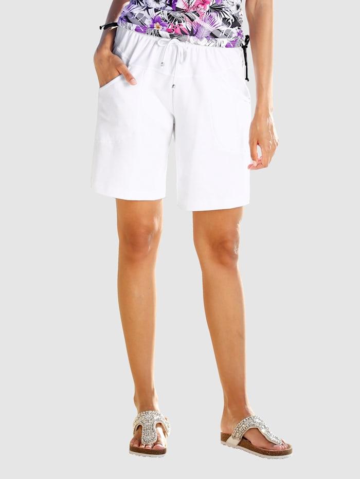 Maritim Shorts med resår och knytband, Vit