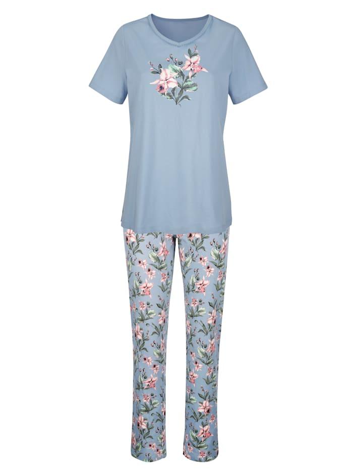 Harmony Schlafanzug mit dekorativer Zackenlitze, Blau/Altrosa/Ecru
