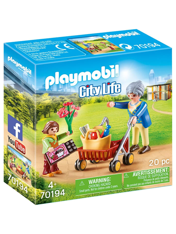 PLAYMOBIL Konstruktionsspielzeug Oma mit Rollator, Bunt