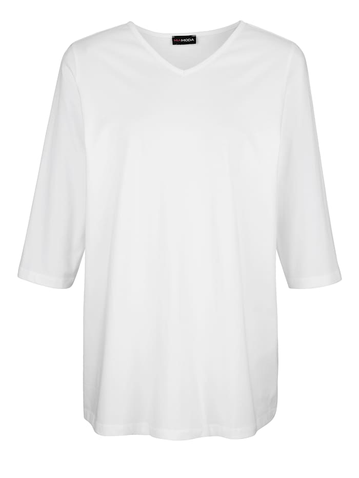 MIAMODA Tričko s predlžujúcim V-výstrihom, Biela