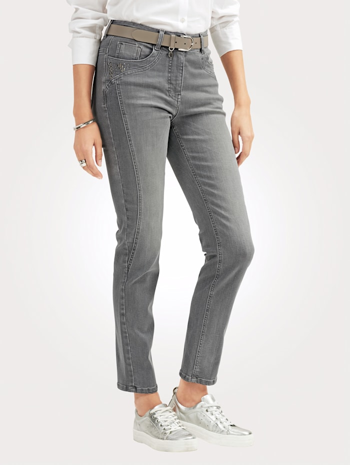 Jeans with rhinestone embellishments