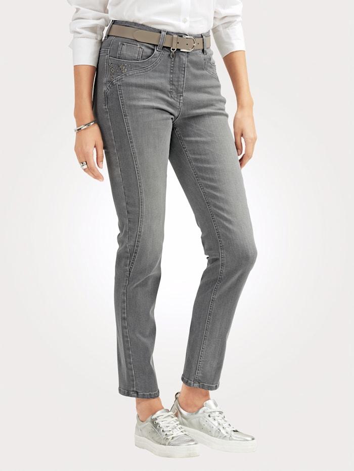 MONA Jeans mit Strasszier an den Taschen, Grau