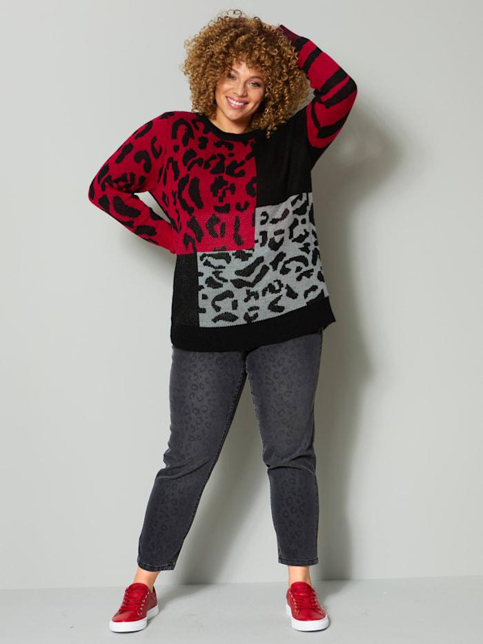Leopardikuosinen neulepusero