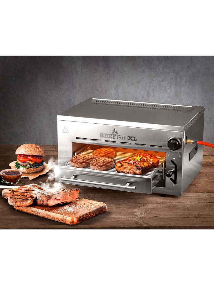 GOURMETmaxx Barbecue au gaz spécial haute température 'Beef Grill XL' GOURMETmaxx, Coloris argenté