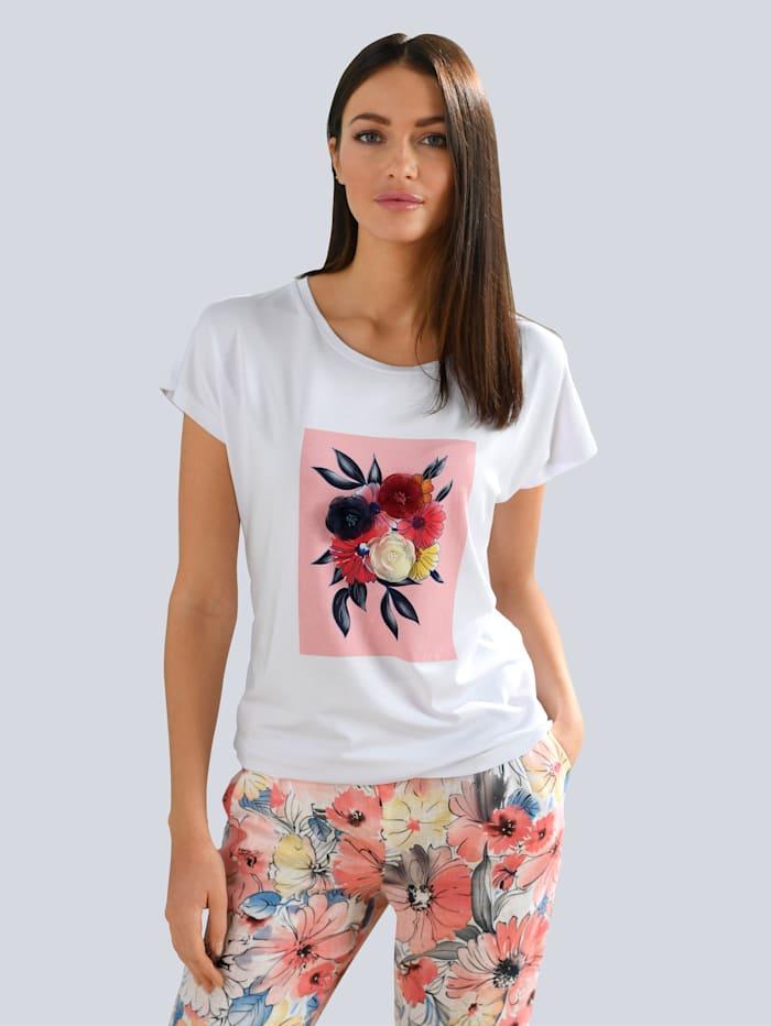 Alba Moda Shirt mit applizierten Textil Blüten, Weiß/Rosé/Marineblau/Gelb
