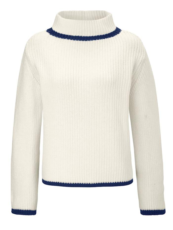 Pullover mit Stehragen und Kontrastabschlüssen