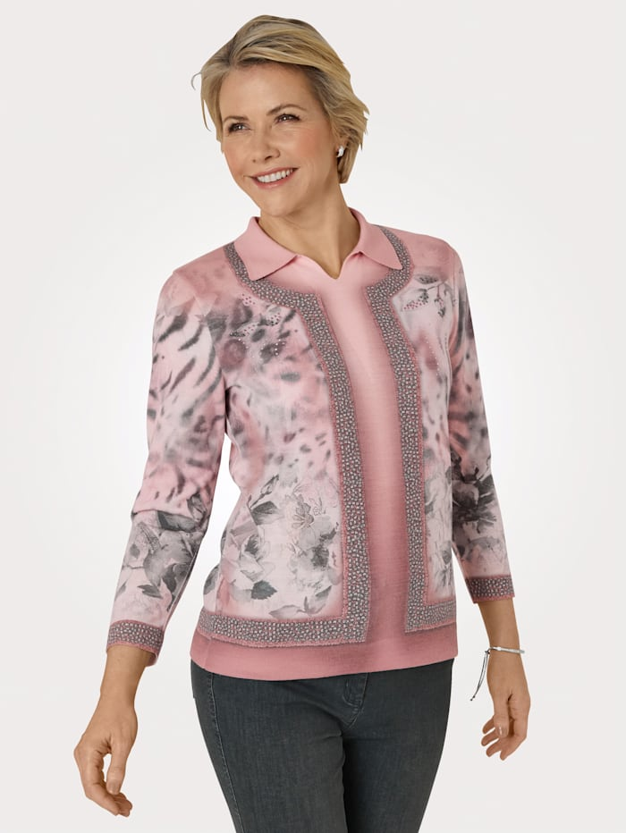 DiStrick Pullover in Twinset-Optik, Rosé/Grau