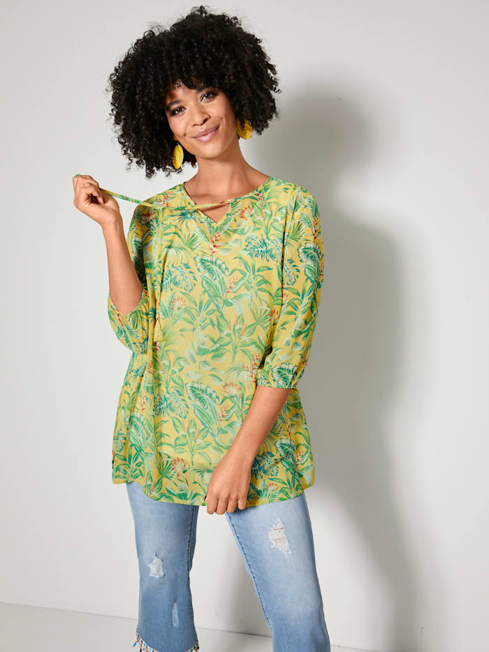 Angel of Style Bluse mit floralem Dessin, Gelb/Grün