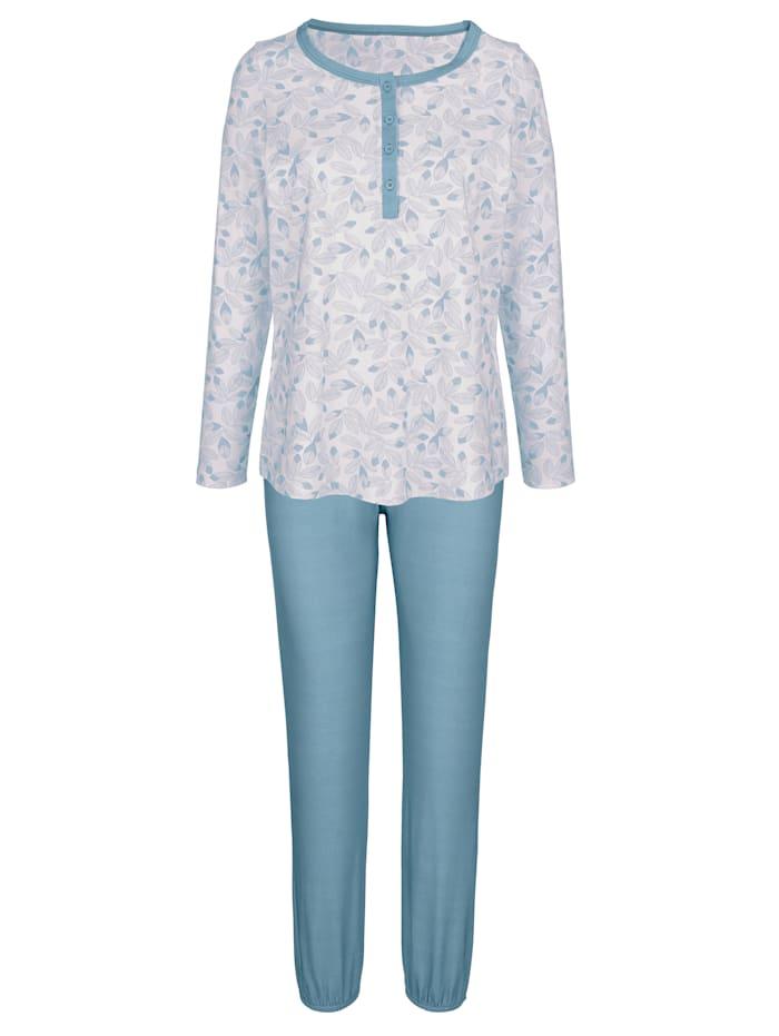 Blue Moon Pyjama met contrastkleurige knoopsluiting, Ecru/Jadegroen