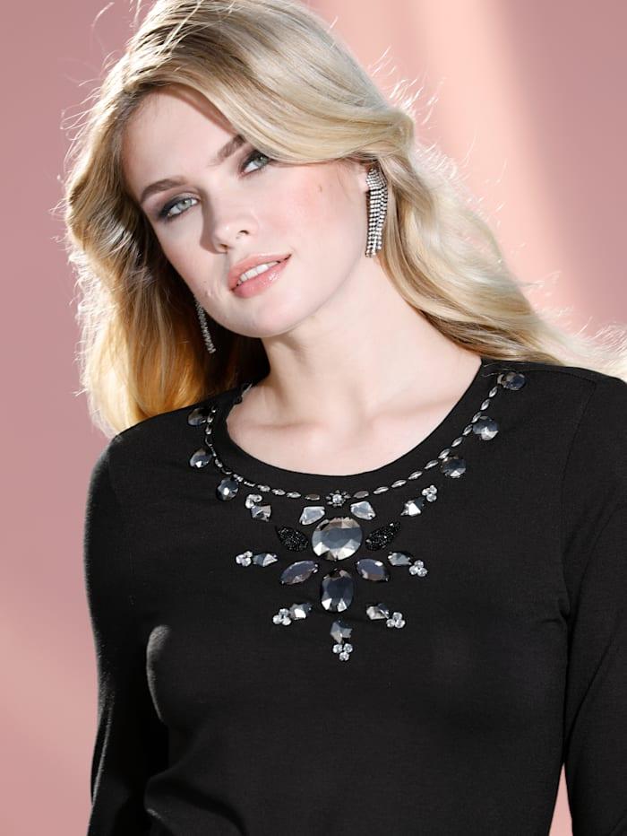 T-shirt à application de perles et de strass