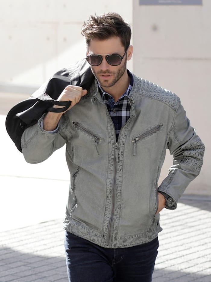 BABISTA Leren jas in bikerstyle, Grijs